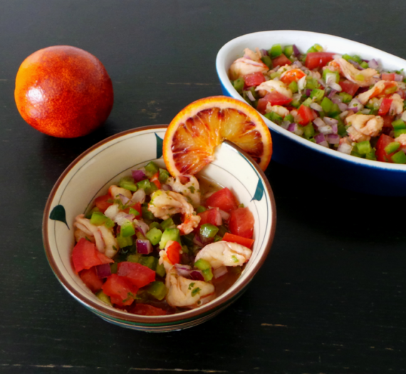 Ceviche de crevettes à l'orange sanguine
